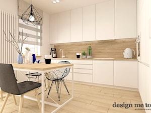 SKANDYNAWIA W NOWOCZESNYM WYDANIU NA WOLI - Duża otwarta biała beżowa szara kuchnia w kształcie litery l, styl skandynawski - zdjęcie od design me too
