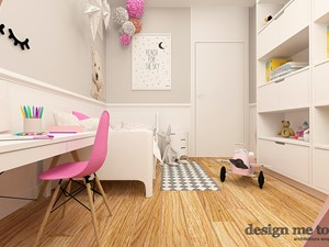 POKOJE DZIEWCZĘCE - Średni biały szary pokój dziecka dla dziewczynki dla malucha, styl nowoczesny - zdjęcie od design me too