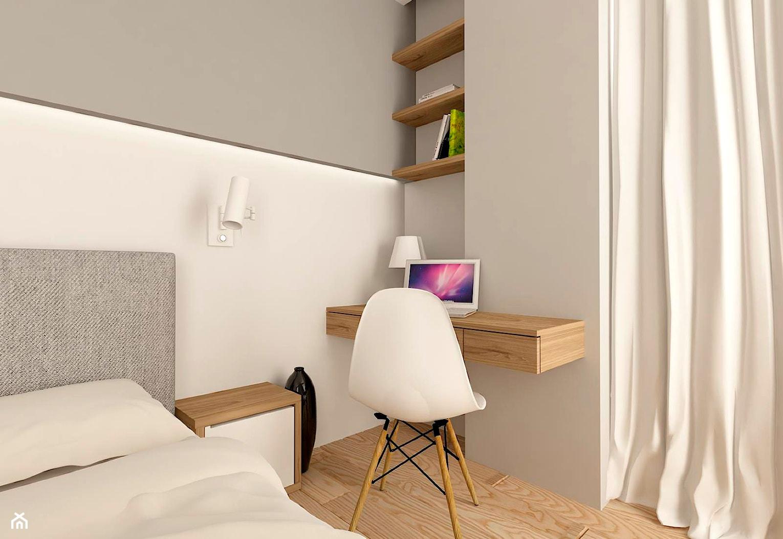 MIESZKANIE NA URSYNOWIE 85 M2 - Średnia biała szara sypialnia małżeńska, styl nowoczesny - zdjęcie od design me too - Homebook