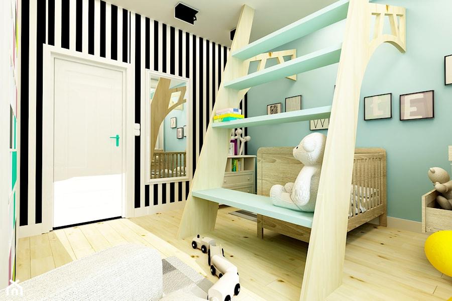 POKÓJ PAWEŁKA - Średni biały miętowy czarny pokój dziecka dla chłopca dla dziewczynki dla niemowlaka dla malucha, styl nowoczesny - zdjęcie od design me too