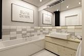 łazienka w odcieniach szarości, drewniane meble łazienkowe, kwadratowa umywalka nablatowa