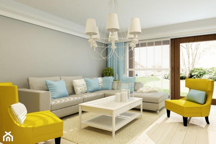 PROWANSALSKO -ANGIELSKI MIX - Średni szary salon z tarasem / balkonem, styl prowansalski - zdjęcie od design me too
