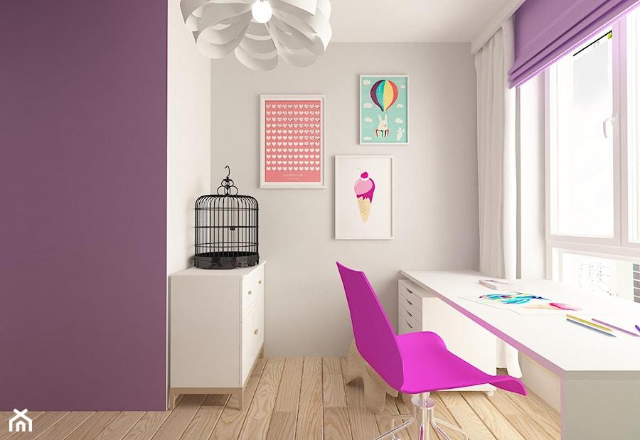 MIESZKANIE NA URSYNOWIE 85 M2 - Średni szary pokój dziecka dla dziewczynki dla ucznia dla nastolatka, styl nowoczesny - zdjęcie od design me too