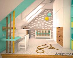 DOM W LESZNOWOLI - Średni szary miętowy pokój dziecka dla chłopca dla niemowlaka, styl nowoczesny - zdjęcie od design me too