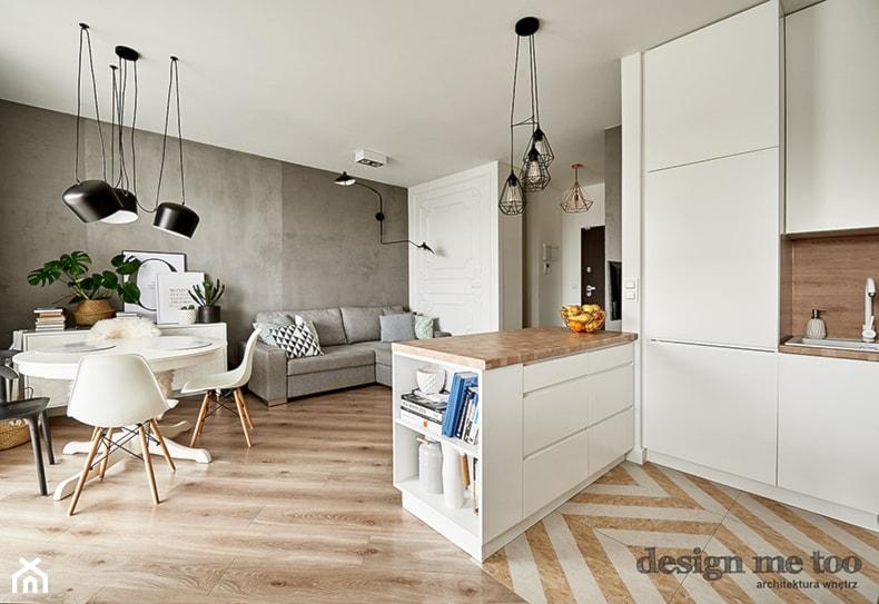 KAWALERKA NA BEMOWIE REALIZACJA - Duży szary salon z kuchnią z jadalnią, styl eklektyczny - zdjęcie od design me too