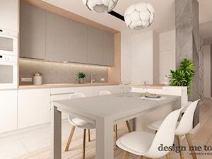 NOWOCZESNY APARTAMENT NA WILANOWIE WERSJA I - Średnia otwarta biała beżowa kuchnia w kształcie litery l, styl nowoczesny - zdjęcie od design me too