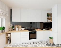 SKANDYNAWSKA NOWOCZESNA KUCHNIA - Mała otwarta biała czarna kuchnia w kształcie litery l w aneksie, ... - zdjęcie od design me too - Homebook