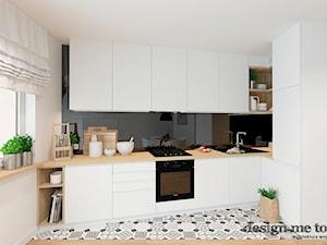 SKANDYNAWSKA NOWOCZESNA KUCHNIA - Mała otwarta biała czarna kuchnia w kształcie litery l w aneksie, styl skandynawski - zdjęcie od design me too