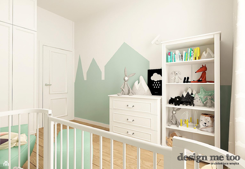 POKOJE DZIECIĘCE W STYLU SKANDYNAWSKIM - Średni biały zielony pokój dziecka dla chłopca dla dziewczynki dla niemowlaka, styl nowoczesny - zdjęcie od design me too - Homebook