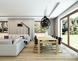 DOM W DZIEKANOWIE POLSKIM KOŁO WARSZAWY - Średnia otwarta biała jadalnia w salonie, styl minimalistyczny - zdjęcie od design me too