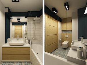 MIESZKANIE ZE SCHODAMI DO NIEBA - Średnia biała brązowa zielona kolorowa łazienka, styl nowoczesny - zdjęcie od design me too