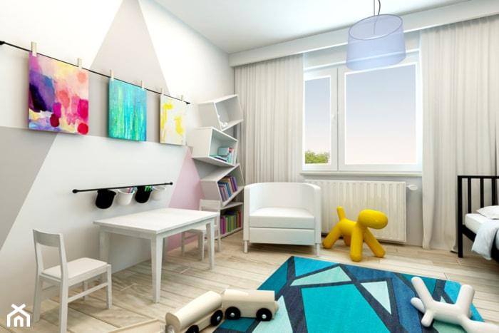 Mieszkanie Rembertów 80 m2 - Duży biały szary pokój dziecka dla chłopca dla dziewczynki dla malucha, styl nowoczesny - zdjęcie od design me too