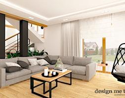 DOM W LESZNOWOLI - Duży biały czarny salon z tarasem / balkonem, styl nowoczesny - zdjęcie od design me too