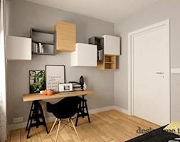NOWOCZESNE BEMOWO - Małe szare biuro kącik do pracy w pokoju, styl nowoczesny - zdjęcie od design me too