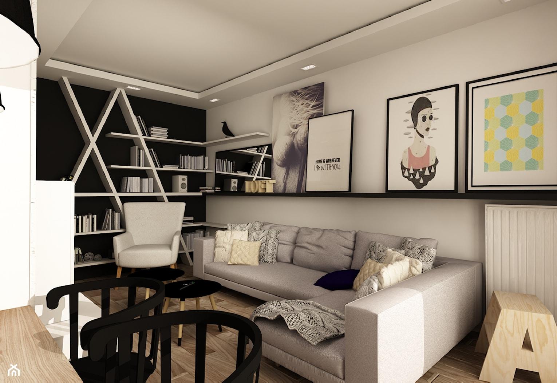 SKANDYNAWIA NA ŻOLIBORZU - Średni biały czarny salon z bibiloteczką, styl skandynawski - zdjęcie od design me too - Homebook