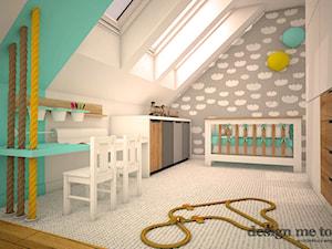 DOM W LESZNOWOLI - Średni biały szary turkusowy pokój dziecka dla chłopca dla niemowlaka, styl nowoczesny - zdjęcie od design me too