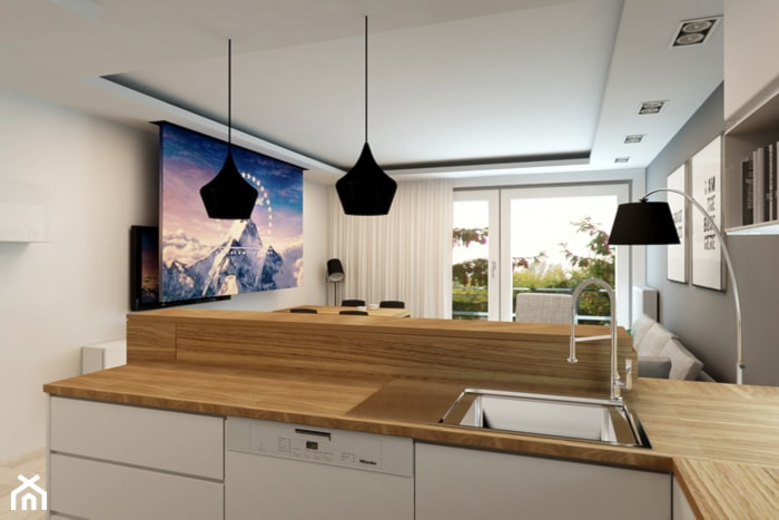 Mieszkanie Rembertów 80 m2 - Mała otwarta biała kuchnia w kształcie litery l z wyspą, styl nowoczesny - zdjęcie od design me too