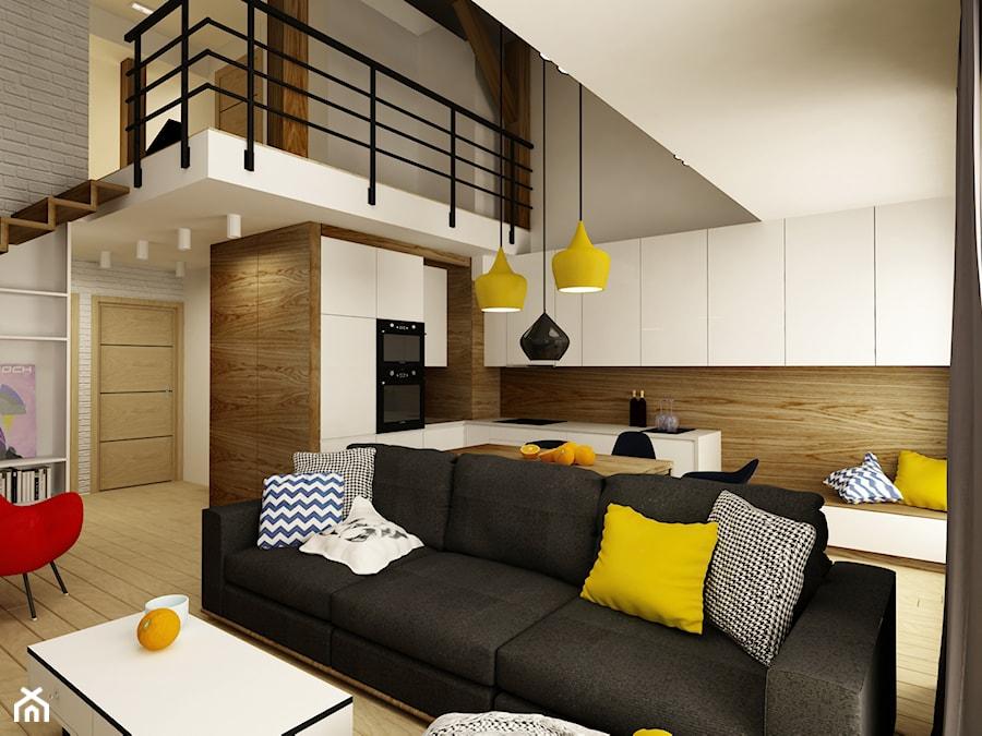 MIESZKANIE ZE SCHODAMI DO NIEBA - Średni szary biały salon z kuchnią z jadalnią z antresolą, styl nowoczesny - zdjęcie od design me too