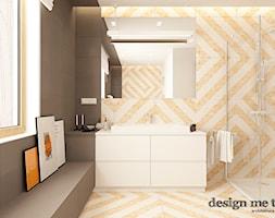 SKANDYNAWSKI DOM W WAWRZE - Mała biała szara łazienka na poddaszu w bloku w domu jednorodzinnym z oknem, styl skandynawski - zdjęcie od design me too