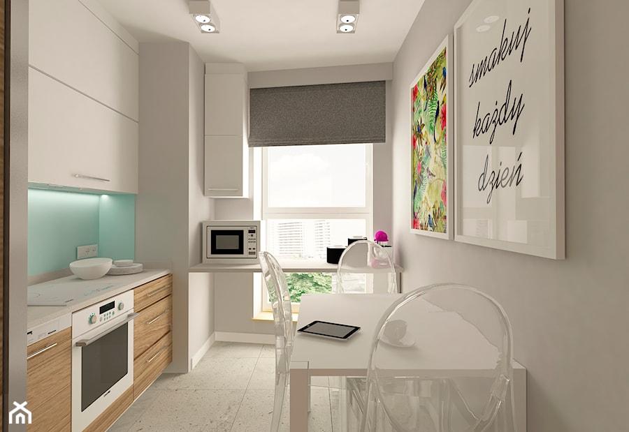 MIESZKANIE NA URSYNOWIE 85 M2 - Mała zamknięta biała niebieska kuchnia w kształcie litery l, styl nowoczesny - zdjęcie od design me too