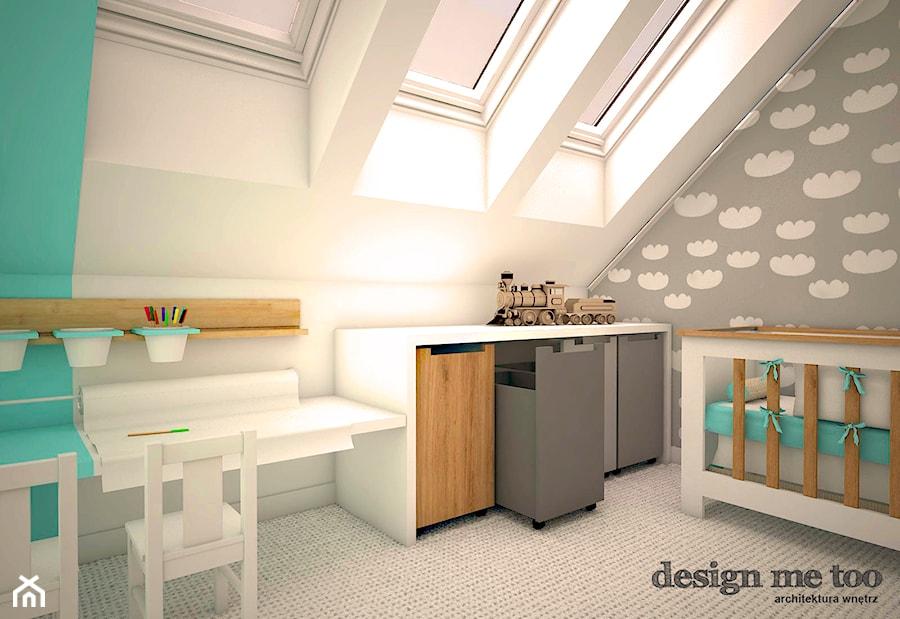 DOM W LESZNOWOLI - Średni szary pastelowy turkusowy pokój dziecka dla chłopca dla dziewczynki dla malucha, styl nowoczesny - zdjęcie od design me too