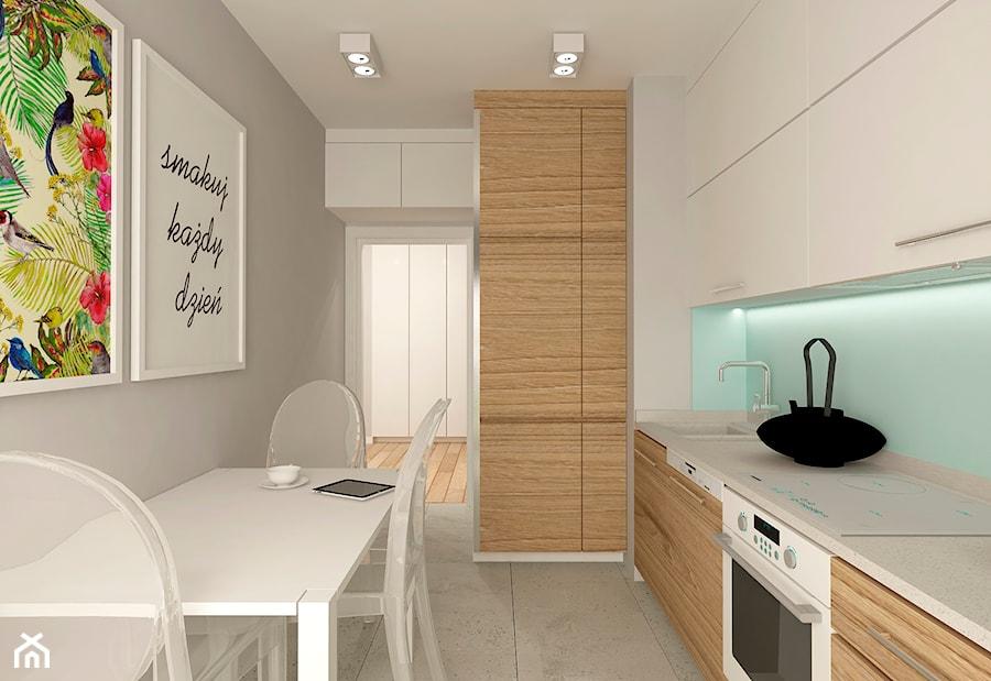 MIESZKANIE NA URSYNOWIE 85 M2 - Średnia zamknięta szara niebieska kuchnia w kształcie litery l, styl nowoczesny - zdjęcie od design me too
