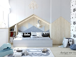 POKOIK MAŁEGO DŻENTELMENA - Mały biały szary pokój dziecka dla chłopca dla malucha, styl skandynawski - zdjęcie od design me too