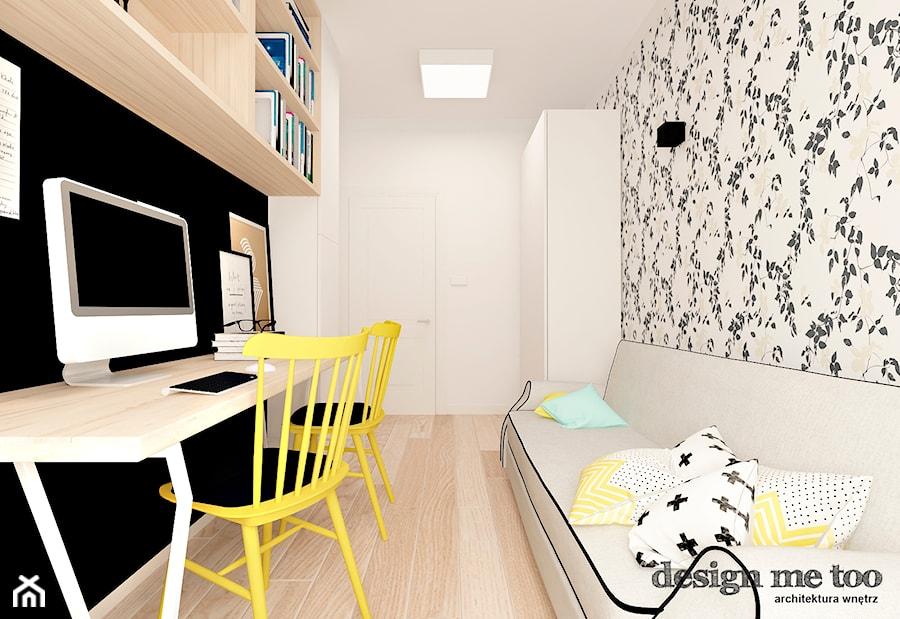 KAWAŁEK NIEBA NA WILANOWIE - Średnie beżowe czarne szare biuro kącik do pracy w pokoju, styl vintage - zdjęcie od design me too
