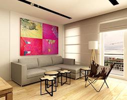 WORONICZA QBIK - Średni szary biały salon, styl minimalistyczny - zdjęcie od design me too