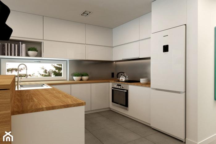 Mieszkanie Rembertów 80 m2  Średnia otwarta kuchnia w kształcie litery l, st   -> Biala Kuchnia I Drewniane Blaty