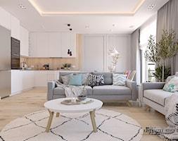 CIEPŁO SKANDYNAWSKICH WNĘTRZ - Średni szary biały salon z kuchnią z jadalnią, styl skandynawski - zdjęcie od design me too - Homebook