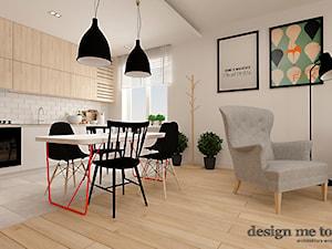 SKANDYNAWSKI KLIMAT NA POWIŚLU - Mała otwarta biała jadalnia w salonie, styl skandynawski - zdjęcie od design me too