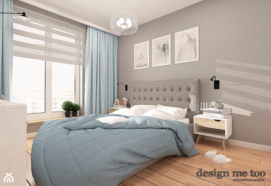 LEKKA SKANDYNAWIA NA MOKOTOWIE - Duża biała szara sypialnia małżeńska, styl skandynawski - zdjęcie od design me too