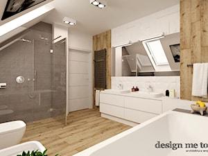 DOM W LESZNOWOLI - Duża beżowa szara łazienka na poddaszu w domu jednorodzinnym z oknem, styl nowoczesny - zdjęcie od design me too