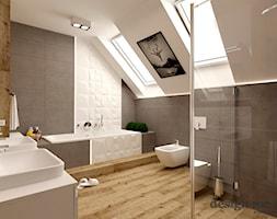 DOM W LESZNOWOLI - Duża biała szara łazienka na poddaszu w domu jednorodzinnym z oknem, styl nowoczesny - zdjęcie od design me too