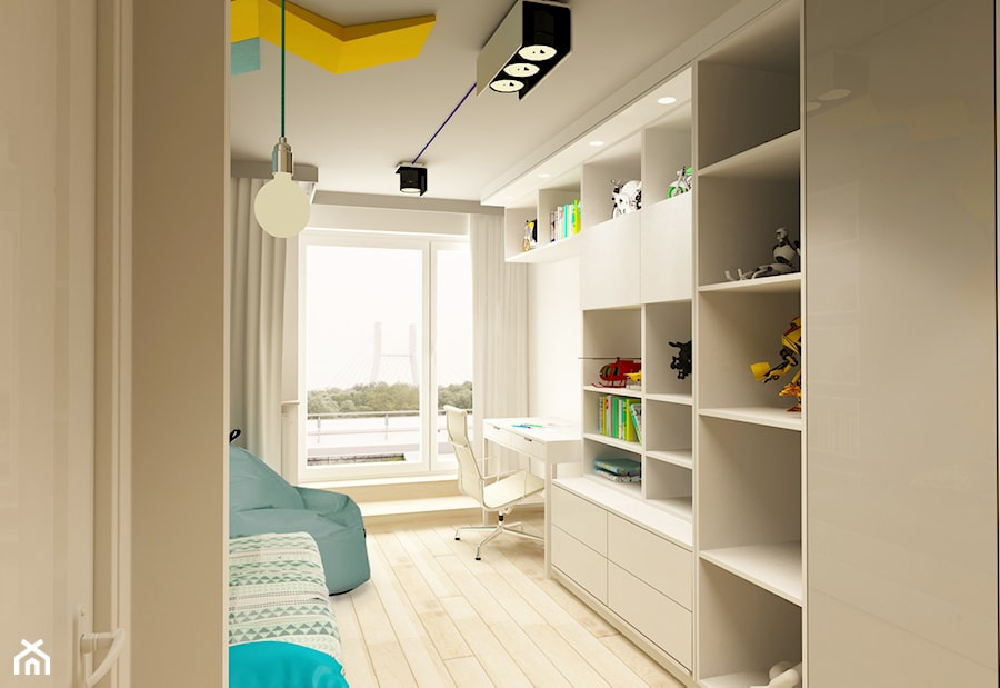 Aranżacje wnętrz - Pokój dziecka: APARTAMENT NA GOCŁAWIU 120 m2 - Mały biały pokój dziecka dla chłopca dla ucznia dla nastolatka, styl nowoczesny - design me too. Przeglądaj, dodawaj i zapisuj najlepsze zdjęcia, pomysły i inspiracje designerskie. W bazie mamy już prawie milion fotografii!