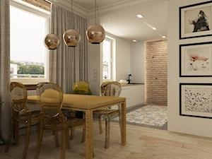 APARTAMENT NA GOCŁAWIU 120 m2 - Średnia otwarta biała jadalnia w salonie, styl eklektyczny - zdjęcie od design me too