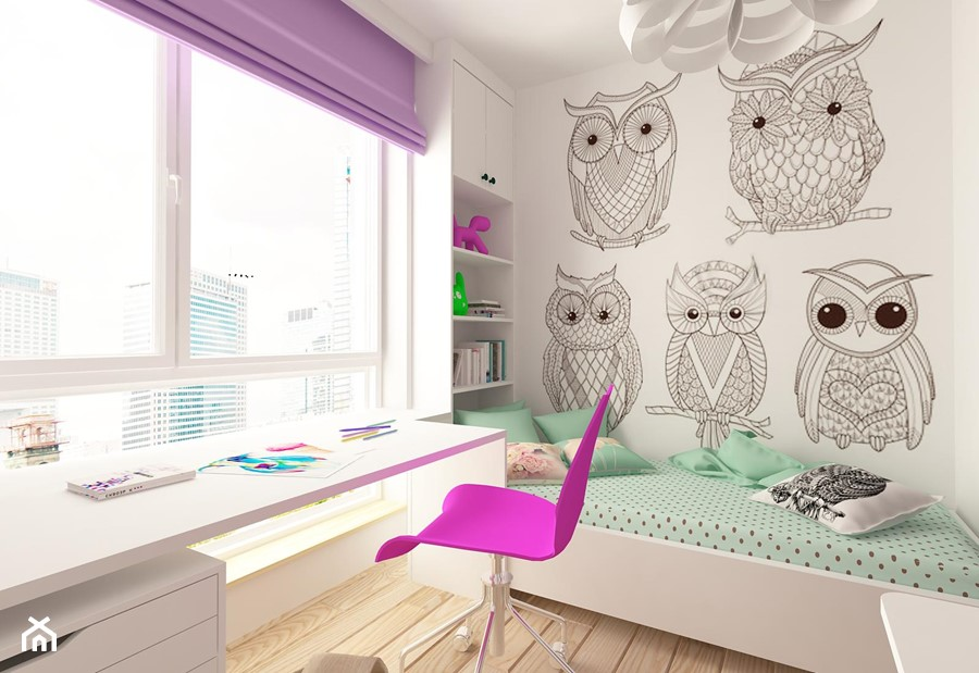 MIESZKANIE NA URSYNOWIE 85 M2 - Średni biały pokój dziecka dla dziewczynki dla ucznia dla nastolatka, styl nowoczesny - zdjęcie od design me too
