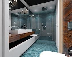kolorLOVE - Średnia biała niebieska brązowa łazienka bez okna, styl eklektyczny - zdjęcie od BYHOUSE ARCHITECTS