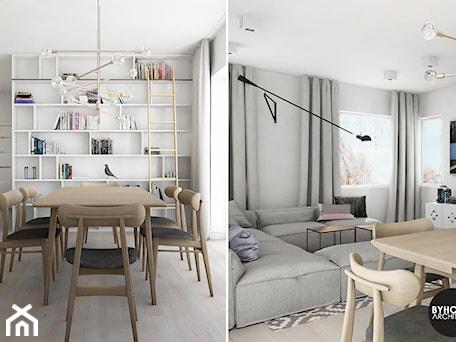 Aranżacje wnętrz - Jadalnia: scandiHOUSE - Średnia otwarta szara jadalnia w salonie, styl skandynawski - BYHOUSE ARCHITECTS. Przeglądaj, dodawaj i zapisuj najlepsze zdjęcia, pomysły i inspiracje designerskie. W bazie mamy już prawie milion fotografii!