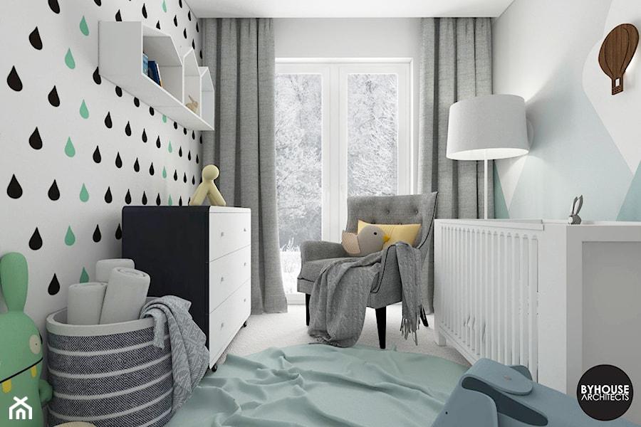 scandiBABYroom - Mały biały szary pokój dziecka dla chłopca dla dziewczynki dla niemowlaka, styl skandynawski - zdjęcie od BYHOUSE ARCHITECTS