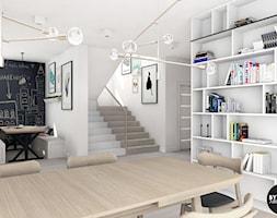 scandiHOUSE - Średnia otwarta biała czarna jadalnia w salonie, styl skandynawski - zdjęcie od BYHOUSE ARCHITECTS