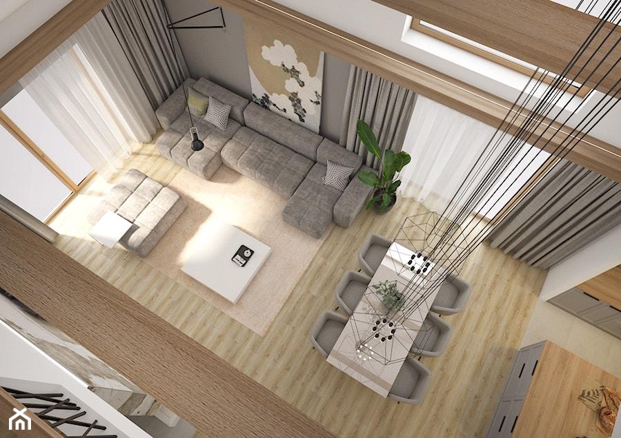 Widok z antresoli na salon - zdjęcie od Nevi Studio