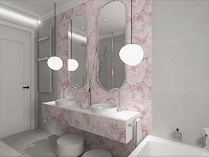 BLACK&WHITE - Średnia biała szara różowa łazienka z oknem, styl nowoczesny - zdjęcie od DALMIKO DESIGN Pracownia Projektowa