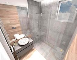 DOM Z WIDOKIEM NA WISŁĘ - Mała brązowa szara łazienka w domu jednorodzinnym z oknem, styl nowoczesny - zdjęcie od DALMIKO DESIGN Pracownia Projektowa