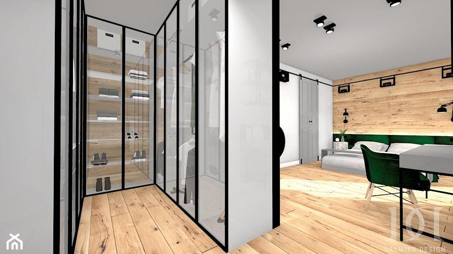 INDUSTRIALNE MIESZKANIE - Mała otwarta garderoba przy sypialni, styl industrialny - zdjęcie od DALMIKO DESIGN Pracownia Projektowa