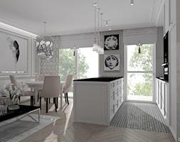 PUDROWA SZKATUŁKA - Średnia biała szara kuchnia jednorzędowa w aneksie z wyspą z oknem, styl klasyczny - zdjęcie od DALMIKO DESIGN Pracownia Projektowa