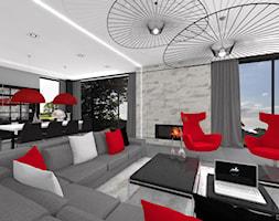 ENERGETYCZNY DOM NOWOCZESNY - Duży szary beżowy salon z jadalnią, styl nowoczesny - zdjęcie od DALMIKO DESIGN Pracownia Projektowa