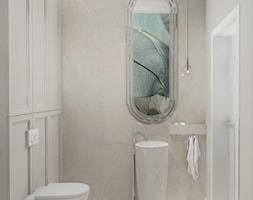 HOLLYWOODZKI SZNYT - Mała szara łazienka w bloku w domu jednorodzinnym bez okna, styl nowoczesny - zdjęcie od DALMIKO DESIGN Pracownia Projektowa - Homebook