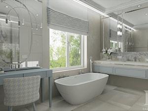 HOLLYWOODZKI SZNYT - Duża biała beżowa łazienka jako salon kąpielowy jako domowe spa z oknem, styl nowoczesny - zdjęcie od DALMIKO DESIGN Pracownia Projektowa